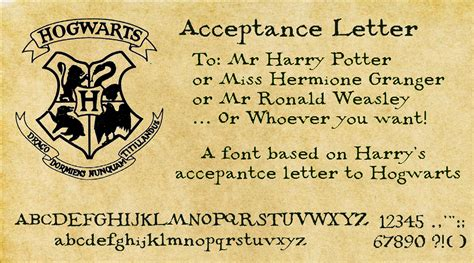 Harry Potter Acceptance Letter Birthday Harry Potter Acceptance Letter Font By Decat On Deviantart For The Of Paper