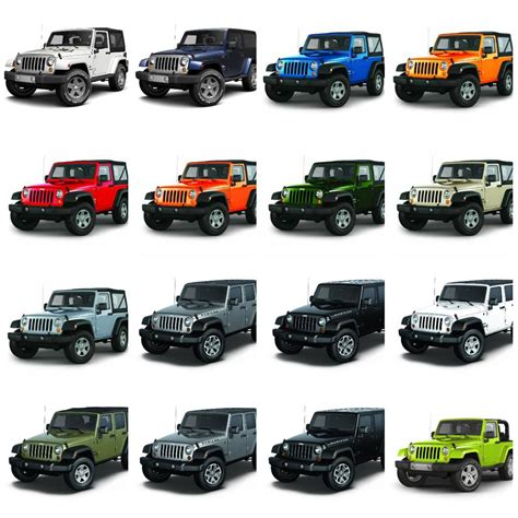 2015 jeep wrangler unlimited colors 2017 jeep wrangler color chart at carolbly