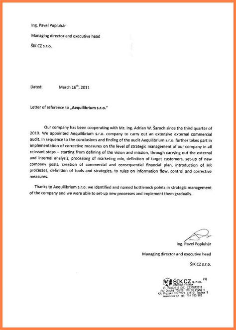 Business Letter Your Reference 5 Company To Company Recommendation Letter Company Letterhead