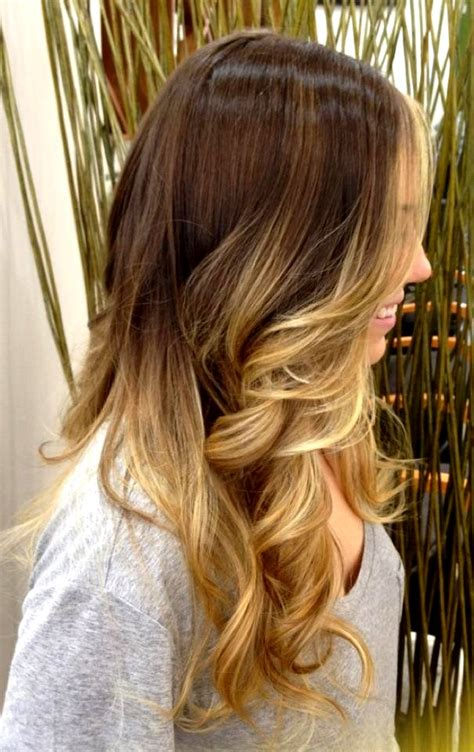 brown and blonde ombre with a line hair cut ombre hair brown to caramel to blonde straight