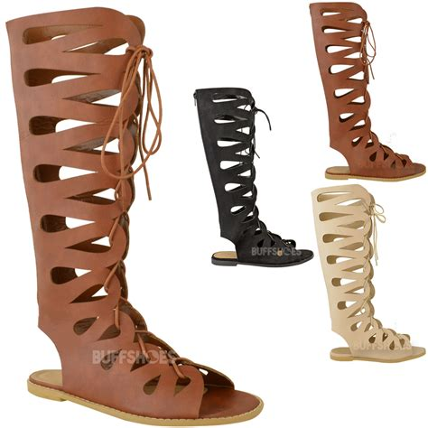 gladiator womens sandals womens flat knee high gladiator strappy sandals
