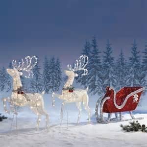 Outdoor christmas decoration reindeer twinkling sleigh deer with 400