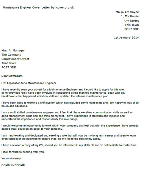 Maintenance Cover Letter Simple Covering Letter Exles Uk Covering Letter Exle