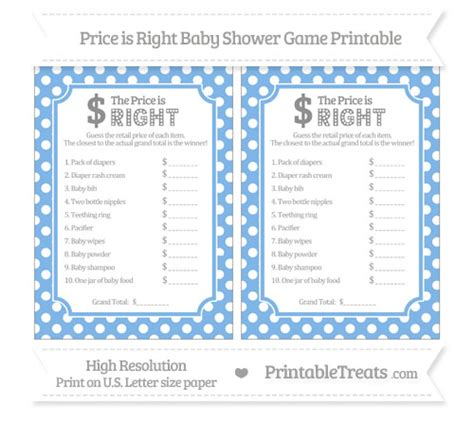 pastel blue polka dot price is right baby shower game