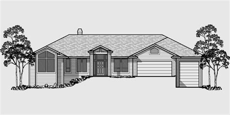 drawing of a house with garage custom ranch house plan w daylight basement and rv garage