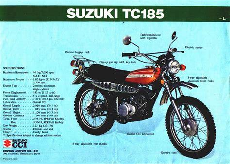Suzuki Tc185 Index Of Blurbs Brochures Suzuki Tc Ts