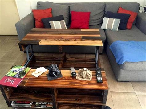Diy Lift Up Top Pallet Coffee Table With Storage Wheels Diy Coffee Table Top