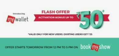 bookmyshow new user offer bookmyshow loot get rs 50 free wallet for new user rs