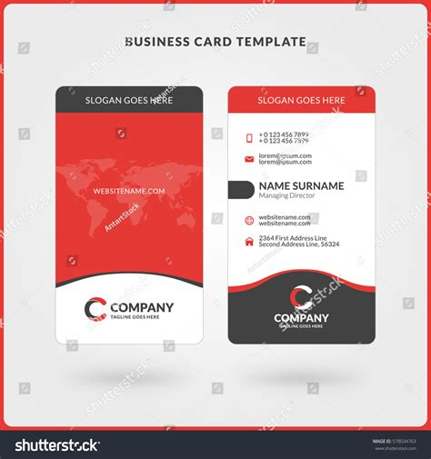 Vertical Doublesided Business Card Template Red Stock Vector 578034763 Shutterstock Two Sided Card Template