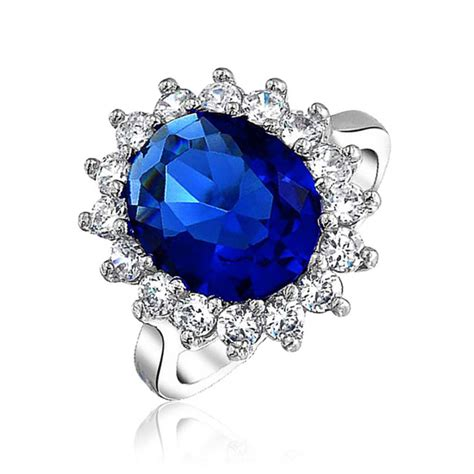 Blue Safir Sapphire 3 4ct royal 4ct cz sapphire color engagement ring kate middleton