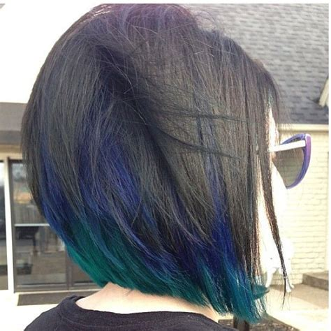 black hair color with a line cut 2015 peacock peekaboo love this idea hair cut color and