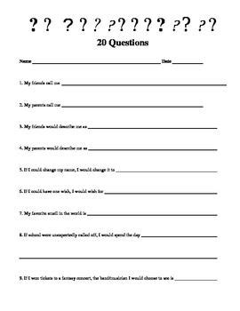 Youth Ministry Survey Template 20 Questions A Getting To Know You Questionnaire Freebie Teacher Tools Pinterest