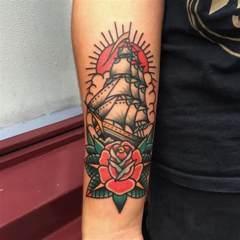 ship and rose tattoo ship images designs
