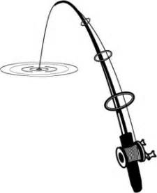 Flower Basket Fishing Pole Fish Black And White Clipart Hostted Image 41794