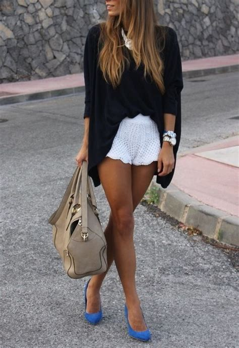 white lace shorts leopard spots and black suede shoes on