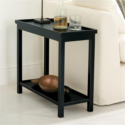 long narrow accent tables narrow jet side table rubbed black low shelves wood
