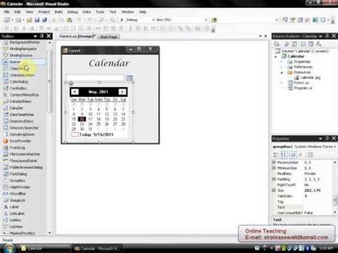 design calendar in vb net viscomsoft tutorial how to create calendar with vb net or