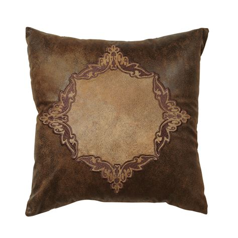 Leather Pillows by Western Bedding Coronado Embroidered Faux Leather Pillow
