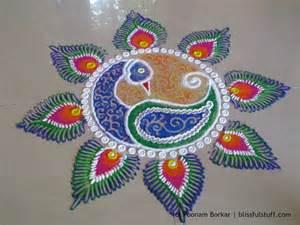 easy peacock rangoli creative peacock rangoli design