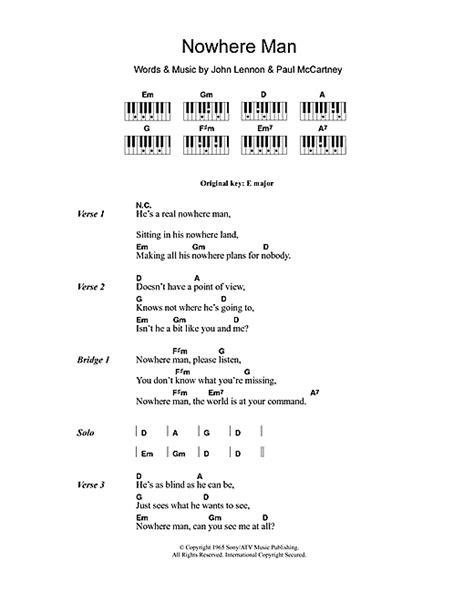 lyrics and piano chords nowhere sheet by the beatles lyrics piano