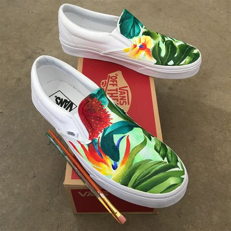 Vintage Those Shoes Handmade Painted - custom painted tropical slip on vans b shoes