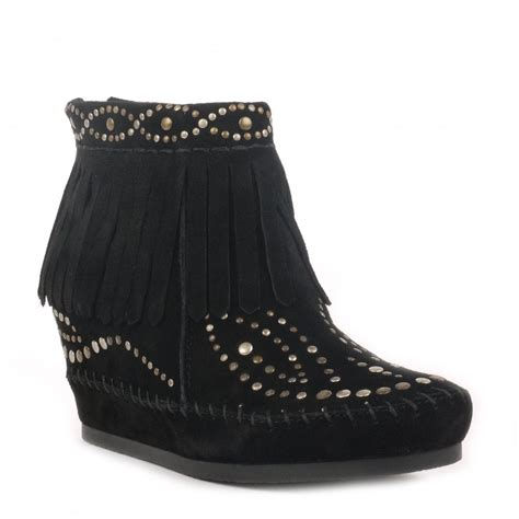 ash scalp black studded low wedge boots