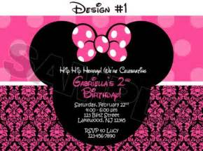 minnie mouse damask dots birthday photo invitations printable blitzdesignz on artfire