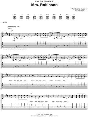 guitar tutorial mrs robinson simon garfunkel quot mrs robinson quot guitar tab download