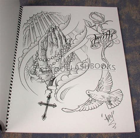 tattoo flash books white doves and sketches on