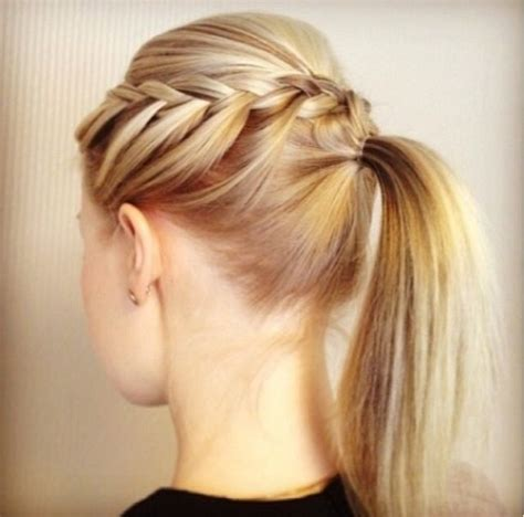 hair braidmed into pony tail with a ball braid into ponytail hair pinterest