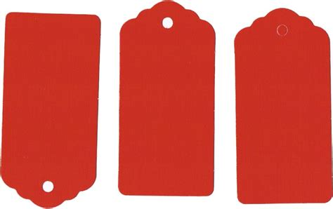 100 Retro Red Wedding Scallop Tags Gift Tag Birthday