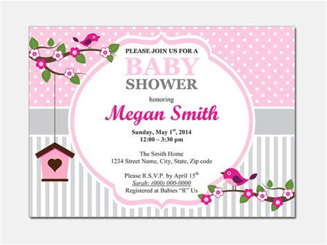 baby shower invitation template microsoft word birds baby shower invitation diy printable by designtemplates