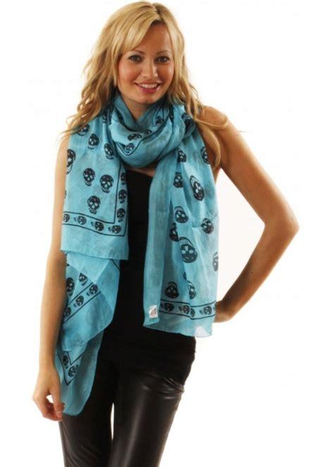 silk skull scarf turquoise silk skull logo scarf
