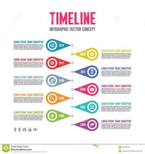Infographic Vector Concept In Flat Design Style Timeline Template Download From Over 37 Creative Poster Presentation Template