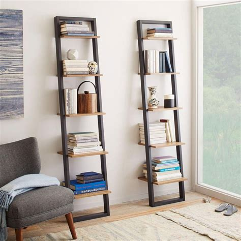 narrow ladder bookcase ladder shelving narrow west elm au