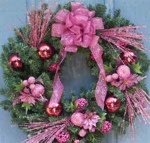 sparkling pink christmas wreath by silk n lights designs