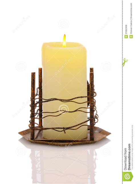 Candle In Holder Candle In Metal Holder Royalty Free Stock Photos Image
