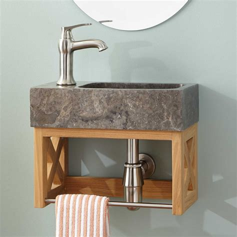 Marble Sink Vanity 16 Quot Ansel Teak Wall Mount Vanity With Towel Bar Sink Teak Narrow Vanities