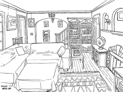 online drawing room living room sketch ink the first assignment in drawing