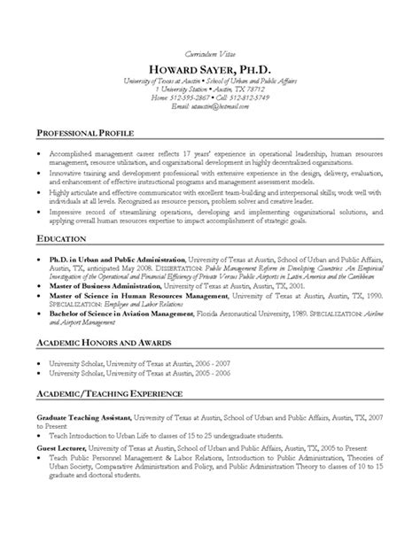 exle of curriculum vitae with picture manager cv exle hr ph d