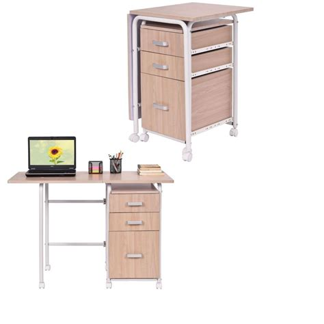 Small Desk On Wheels Portable Convertible Folding Desk Writing Computer Small Room Modern Wheels Ebay
