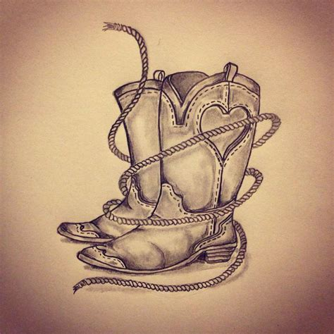 cowboy boots tattoo designs boots rope by ranz horseshoe