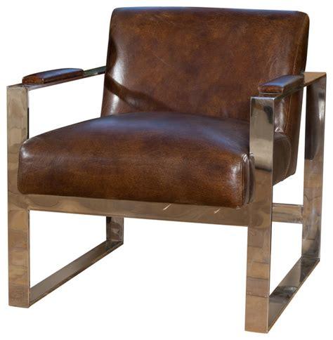 Midcentury Modern Armchair by Cleveland Mid Century Modern Design Steel Frame Top Grain