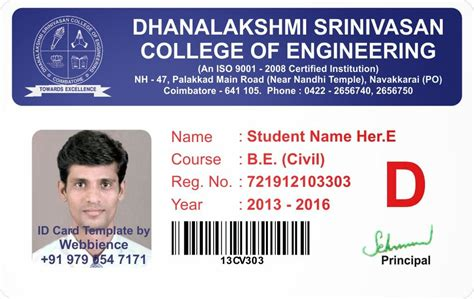 Student Identification Card Template by Id Card Coimbatore Ph 97905 47171 College Student Id