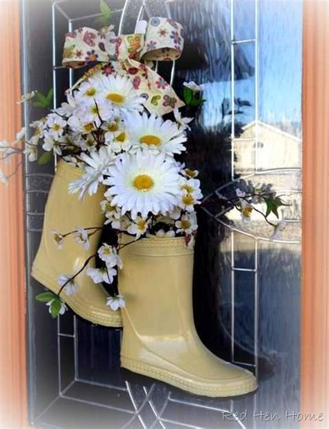 rubber boot decoration 1000 images about diy wreaths on pinterest garden hose