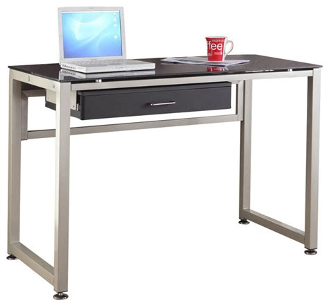 Metal Computer Desk Homelegance Network 44 Inch Metal Computer Desk With Black Glass Top Traditional Desks And