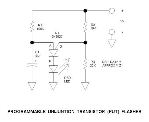 transistor put programmable unijunction transistor put flasher circuit