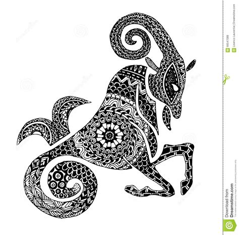 Capricorn Symbol Outline by The Capricorn Sign Horoscope Ethnic Style Outline Stock Vector Image 66547088