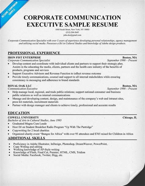 Marketing Communications Specialist Sle Resume by Corporate Communications Professional Resume 28 Images Corporate Communications High