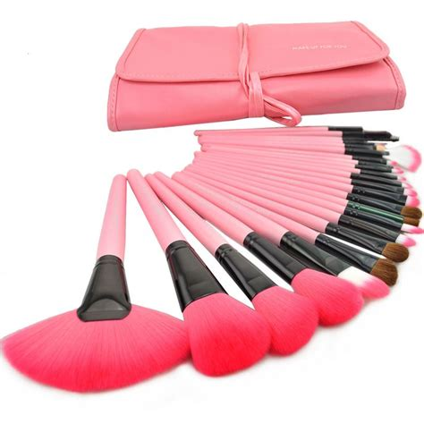 Makeup Brush Kit harajuku 24 pcs set makeup brush cosmetic set kit packed leather pink on storenvy